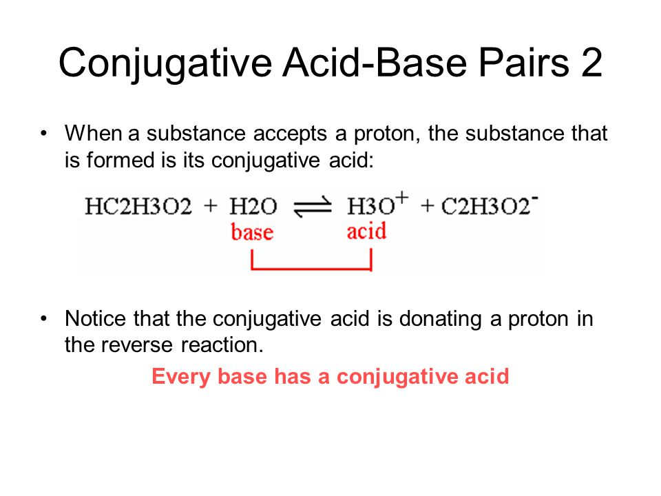 Conjugative Acid-Base Pairs 2 When a substance accepts a proton, the substance that is formed is its conjugative acid: Notice that the conjugative aci