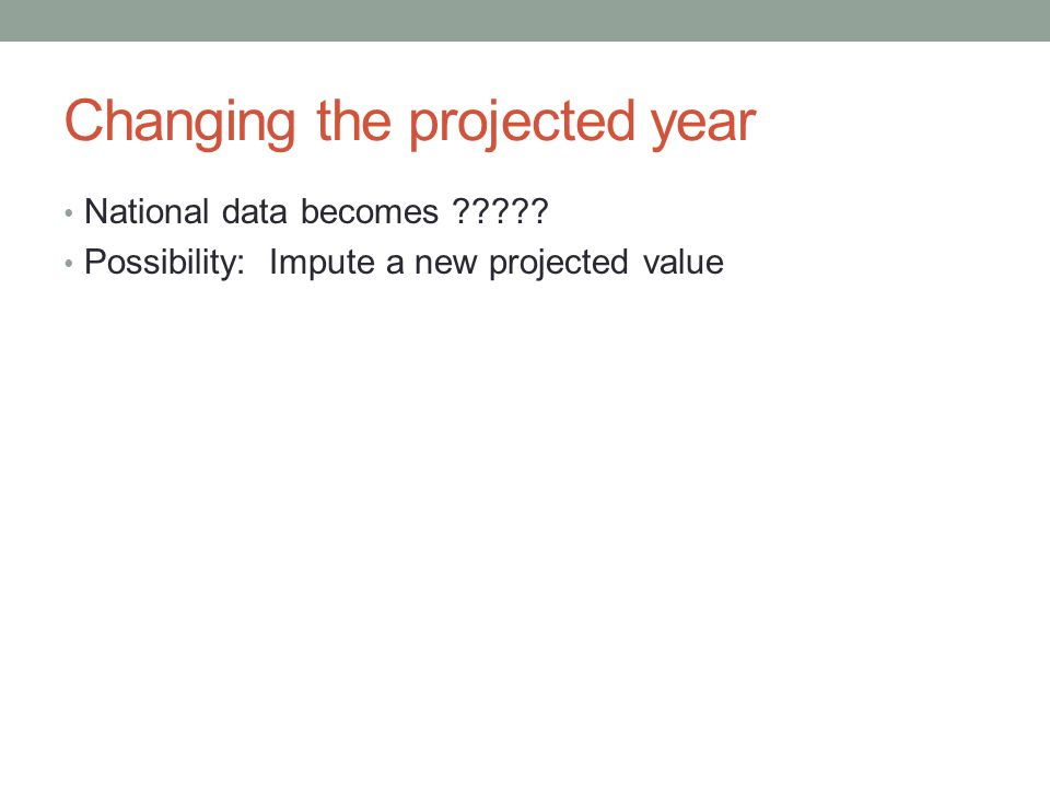 Changing the projected year National data becomes Possibility: Impute a new projected value