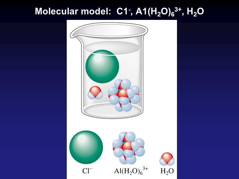 Molecular model: C1 -, A1(H 2 O) 6 3+, H 2 O