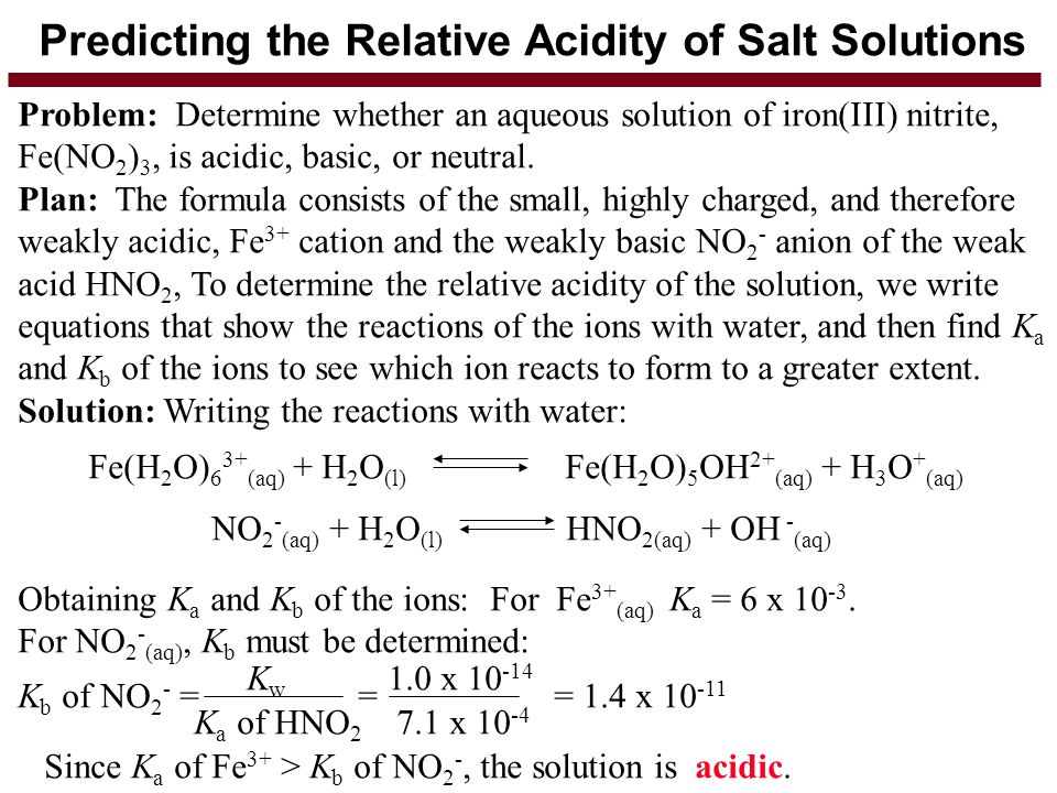 Predicting the Relative Acidity of Salt Solutions Problem: Determine whether an aqueous solution of iron(III) nitrite, Fe(NO 2 ) 3, is acidic, basic,