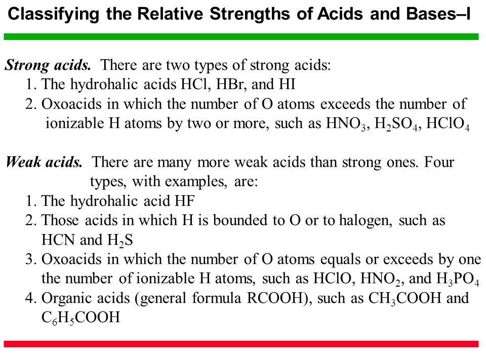 Classifying the Relative Strengths of Acids and Bases–I Strong acids. There are two types of strong acids: 1. The hydrohalic acids HCl, HBr, and HI 2.