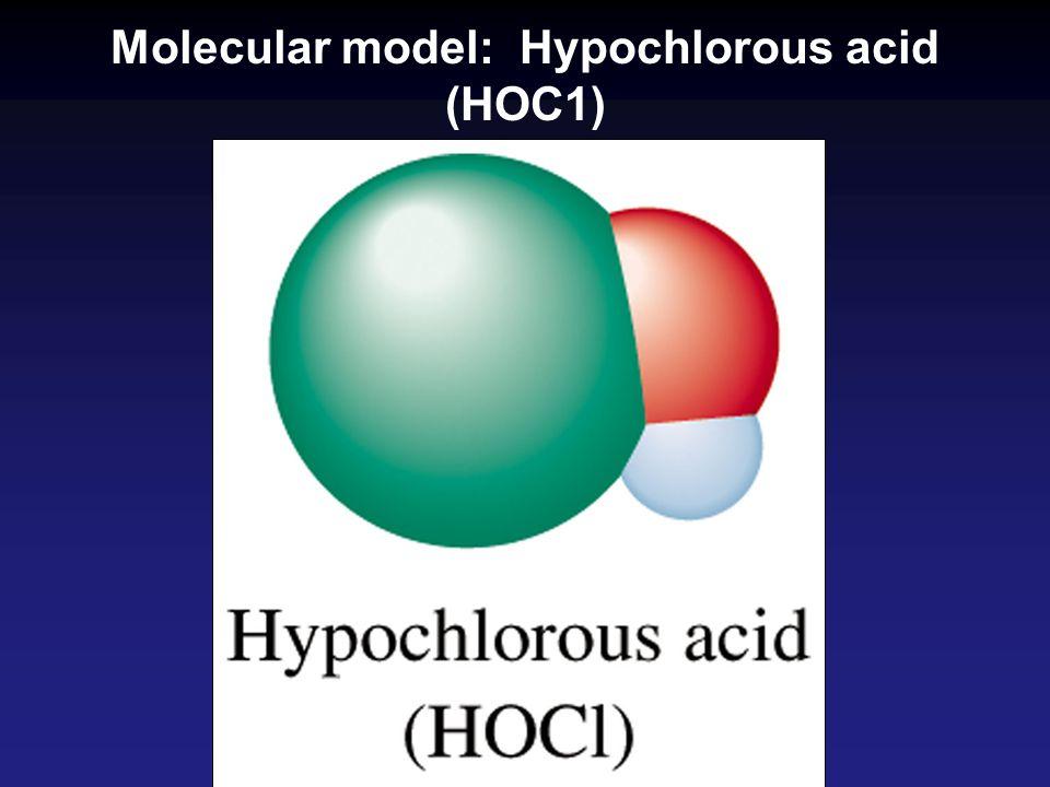 Molecular model: Hypochlorous acid (HOC1)