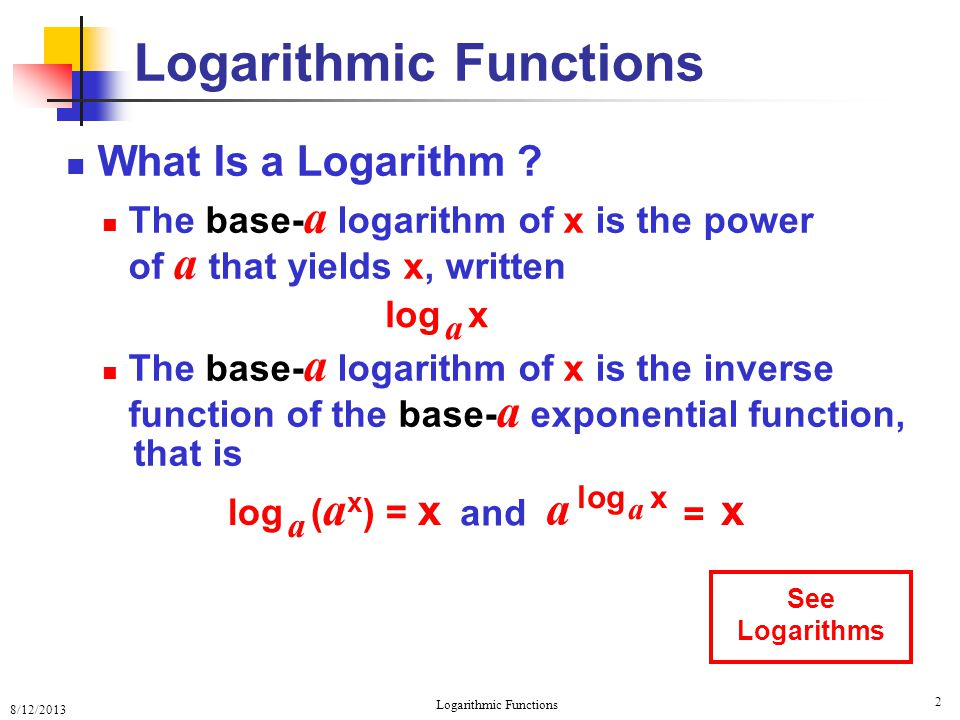 8/12/2013 Logarithmic Functions 13 One-to-One Property Review Since a x and log a x are 1-1 1.