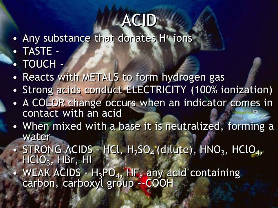 Acid reactions 2HCl(aq) + CuO(s) CuCl 2 (aq) + H 2 O(l) Copper oxide 2HCl(aq) + Ca(OH) 2 (s) CaCl 2 (aq) + 2H 2 O(l) Calcium hydroxide 2HCl(aq) + CaCO 3 (s) CaCl 2 (aq) + CO 2 (g) + H 2 O(l) Calcium carbonate 2HCl(aq) + Sr(HCO 3 ) 2 (s) CaCl 2 (aq) + 2CO 2 + 2H 2 O(l) Strontium bicarbonate ACID-BASE NEUTRALIZATION HCl(aq) + NaOH(aq) -----> H 2 O(l) + NaCl(aq) Strong Strong Water Soluble Acid Base Salt 2HCl(aq) + CuO(s) CuCl 2 (aq) + H 2 O(l) Copper oxide 2HCl(aq) + Ca(OH) 2 (s) CaCl 2 (aq) + 2H 2 O(l) Calcium hydroxide 2HCl(aq) + CaCO 3 (s) CaCl 2 (aq) + CO 2 (g) + H 2 O(l) Calcium carbonate 2HCl(aq) + Sr(HCO 3 ) 2 (s) CaCl 2 (aq) + 2CO 2 + 2H 2 O(l) Strontium bicarbonate ACID-BASE NEUTRALIZATION HCl(aq) + NaOH(aq) -----> H 2 O(l) + NaCl(aq) Strong Strong Water Soluble Acid Base Salt