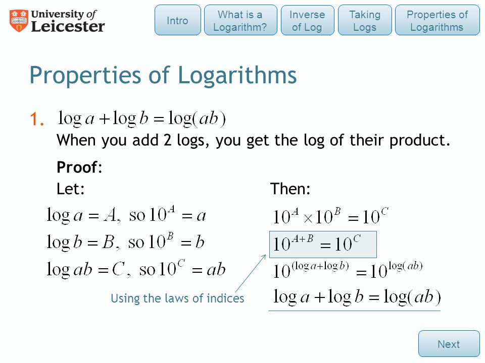1. When you add 2 logs, you get the log of their product. Proof: Properties of Logarithms Next Using the laws of indices Let: Then: Taking Logs Intro