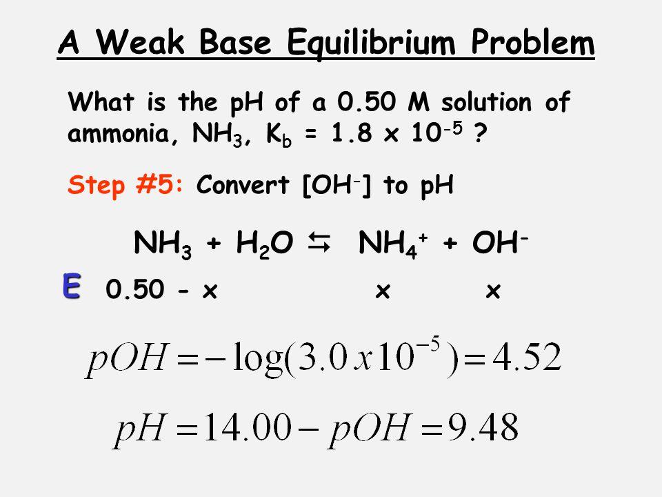 A Weak Base Equilibrium Problem Step #5: Convert [OH - ] to pH 0.50 - xxx E What is the pH of a 0.50 M solution of ammonia, NH 3, K b = 1.8 x 10 -5 .