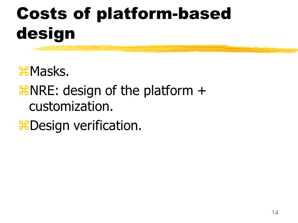 14 Costs of platform-based design zMasks. zNRE: design of the platform + customization.