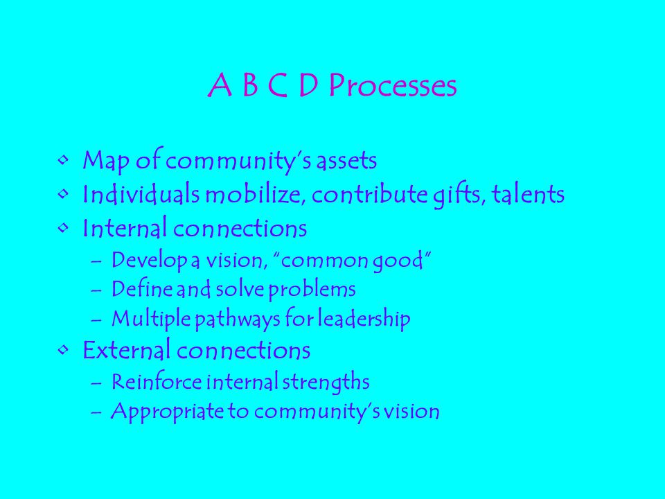 "A B C D Processes Map of community's assets Individuals mobilize, contribute gifts, talents Internal connections –Develop a vision, ""common good"" –Def"
