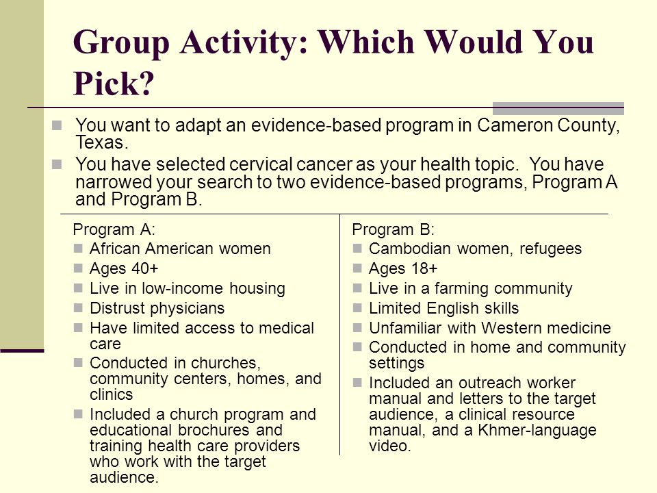 Group Activity: Which Would You Pick.