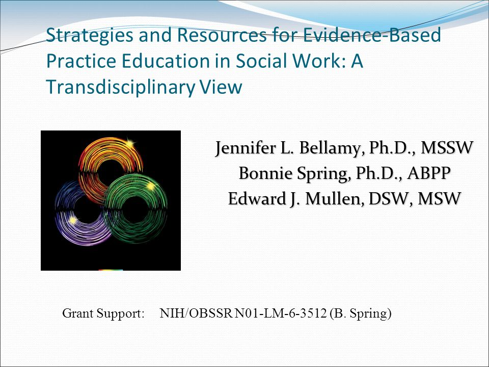 Strategies and Resources for Evidence-Based Practice Education in Social Work: A Transdisciplinary View Jennifer L.