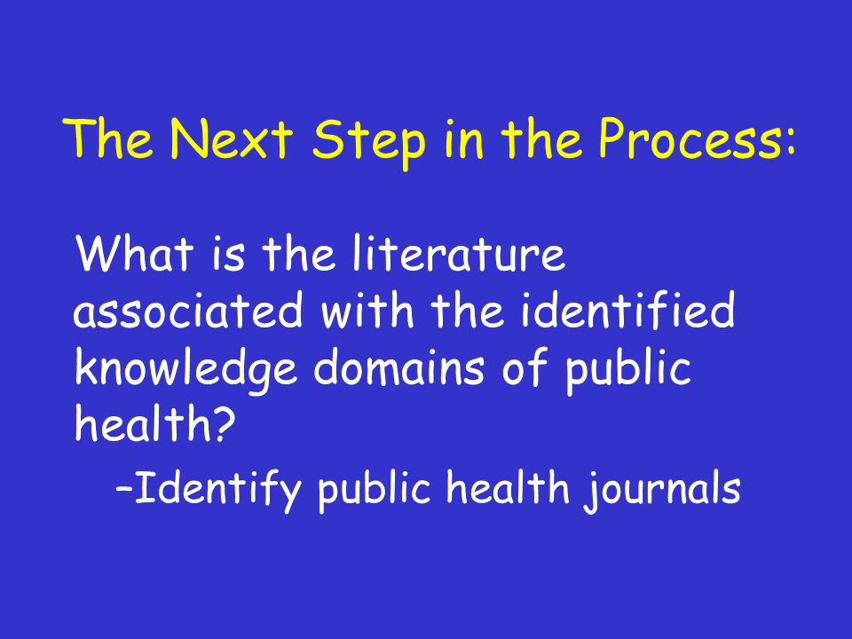 The Next Step in the Process: What is the literature associated with the identified knowledge domains of public health.