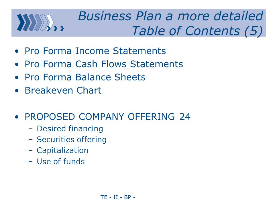 TE - II - BP - Business Plan a more detailed Table of Contents (5) Pro Forma Income Statements Pro Forma Cash Flows Statements Pro Forma Balance Sheets Breakeven Chart PROPOSED COMPANY OFFERING24 –Desired financing –Securities offering –Capitalization –Use of funds