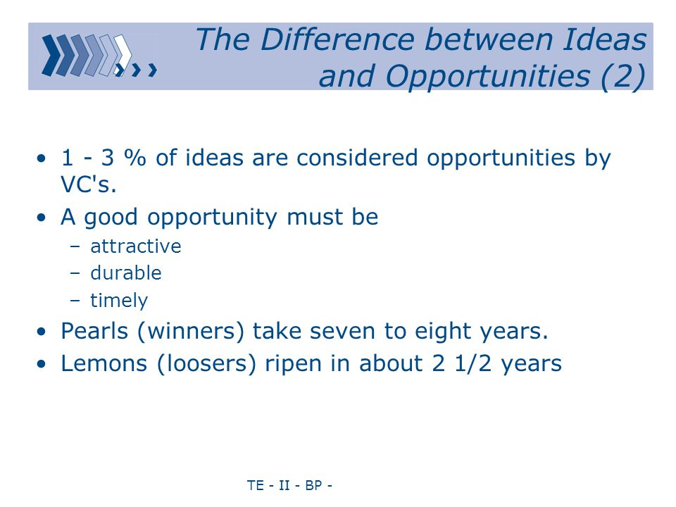TE - II - BP - The Difference between Ideas and Opportunities (2) 1 - 3 % of ideas are considered opportunities by VC s.