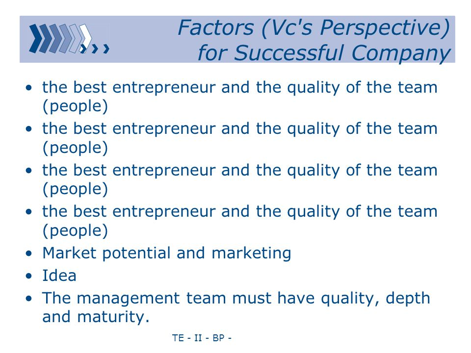 TE - II - BP - Factors (Vc's Perspective) for Successful Company the best entrepreneur and the quality of the team (people) Market potential and marke