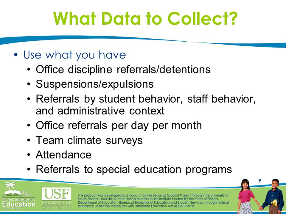 19 When to Enter Data Recommended that data are entered daily, but at least weekly (at a minimum) With a school-wide data collection system, schools are better prepared to respond proactively to situations Schools can begin to identify problems and generate solutions Monitor and evaluate success of interventions