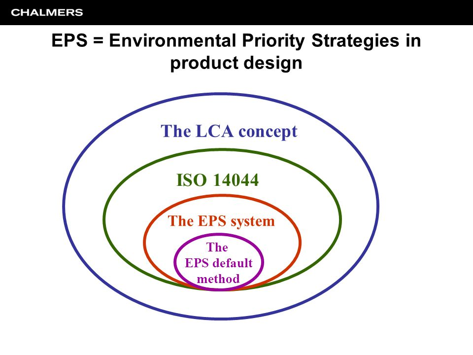 The LCA concept ISO 14044 The EPS system The EPS default method EPS = Environmental Priority Strategies in product design