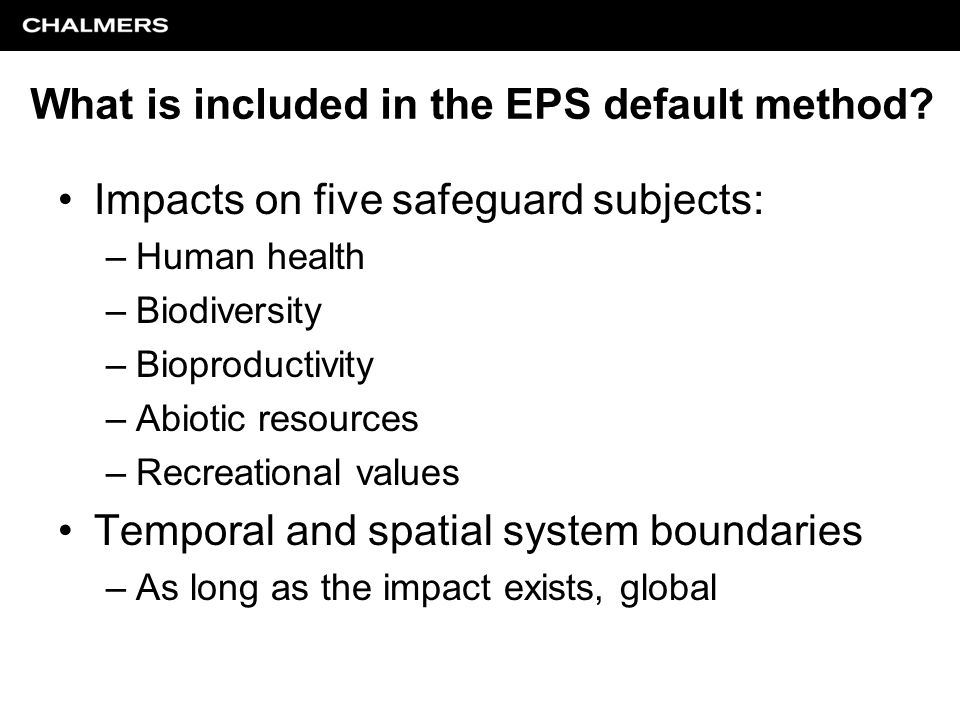 What is included in the EPS default method.