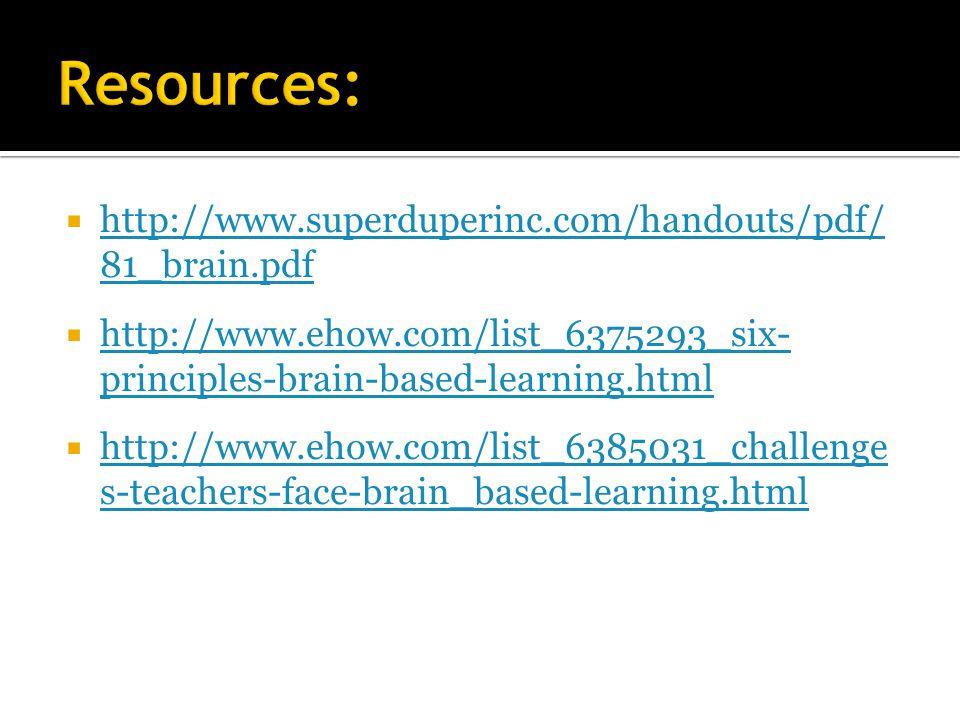  http://www.superduperinc.com/handouts/pdf/ 81_brain.pdf http://www.superduperinc.com/handouts/pdf/ 81_brain.pdf  http://www.ehow.com/list_6375293_six- principles-brain-based-learning.html http://www.ehow.com/list_6375293_six- principles-brain-based-learning.html  http://www.ehow.com/list_6385031_challenge s-teachers-face-brain_based-learning.html http://www.ehow.com/list_6385031_challenge s-teachers-face-brain_based-learning.html
