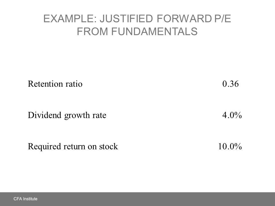 EXAMPLE: JUSTIFIED FORWARD P/E FROM FUNDAMENTALS Retention ratio 0.36 Dividend growth rate4.0% Required return on stock10.0%