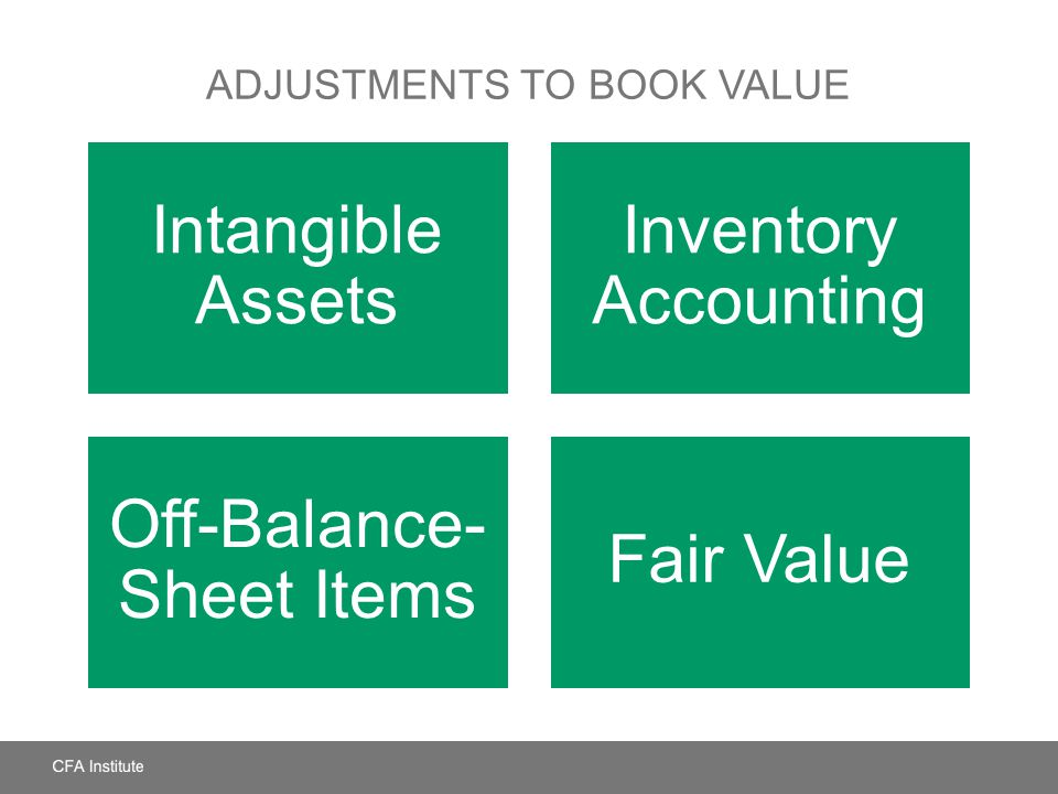 ADJUSTMENTS TO BOOK VALUE Intangible Assets Inventory Accounting Off-Balance- Sheet Items Fair Value