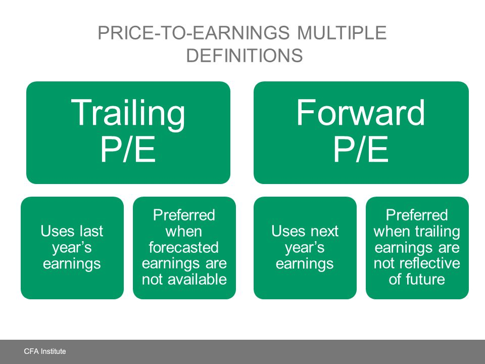 PRICE-TO-EARNINGS MULTIPLE DEFINITIONS Trailing P/E Uses last year's earnings Preferred when forecasted earnings are not available Forward P/E Uses ne