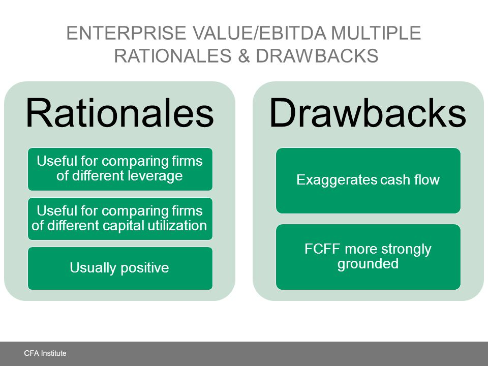 ENTERPRISE VALUE/EBITDA MULTIPLE RATIONALES & DRAWBACKS Rationales Useful for comparing firms of different leverage Useful for comparing firms of diff