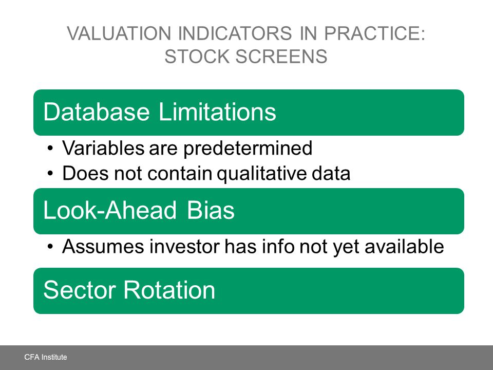 VALUATION INDICATORS IN PRACTICE: STOCK SCREENS Database Limitations Variables are predetermined Does not contain qualitative data Look-Ahead Bias Ass