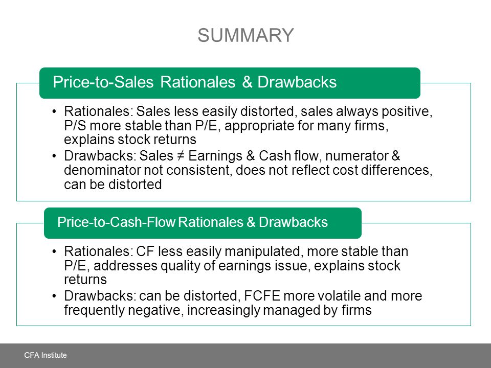 SUMMARY Rationales: Sales less easily distorted, sales always positive, P/S more stable than P/E, appropriate for many firms, explains stock returns D