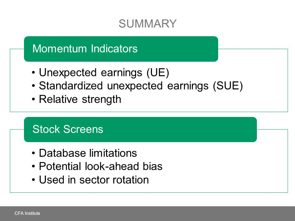 SUMMARY Unexpected earnings (UE) Standardized unexpected earnings (SUE) Relative strength Momentum Indicators Database limitations Potential look-ahea