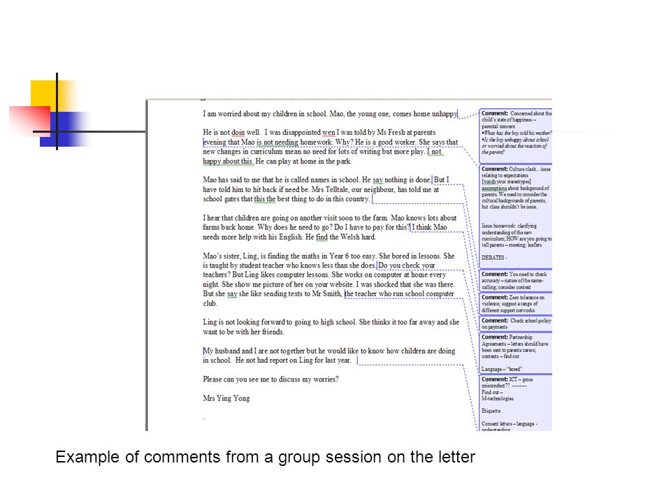 Example of comments from a group session on the letter