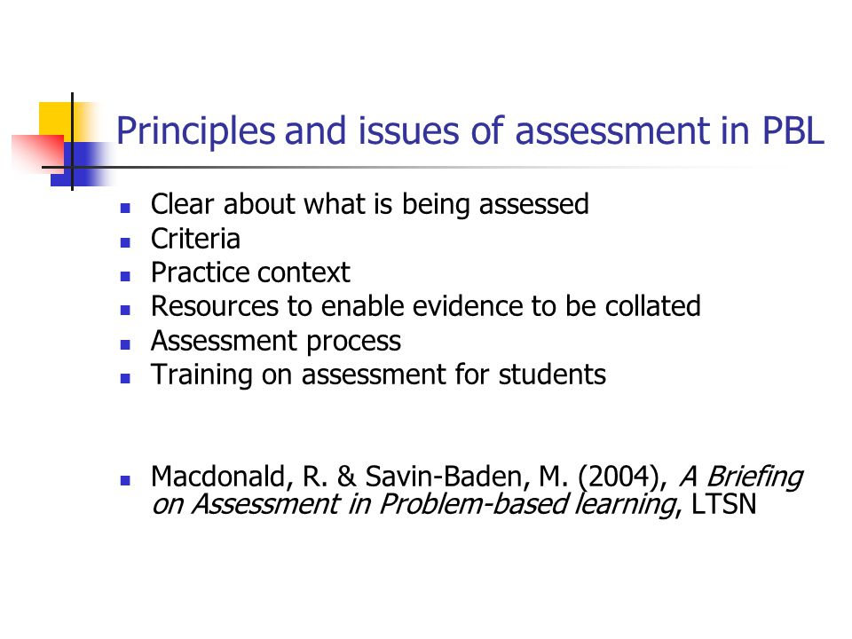 Principles and issues of assessment in PBL Clear about what is being assessed Criteria Practice context Resources to enable evidence to be collated As