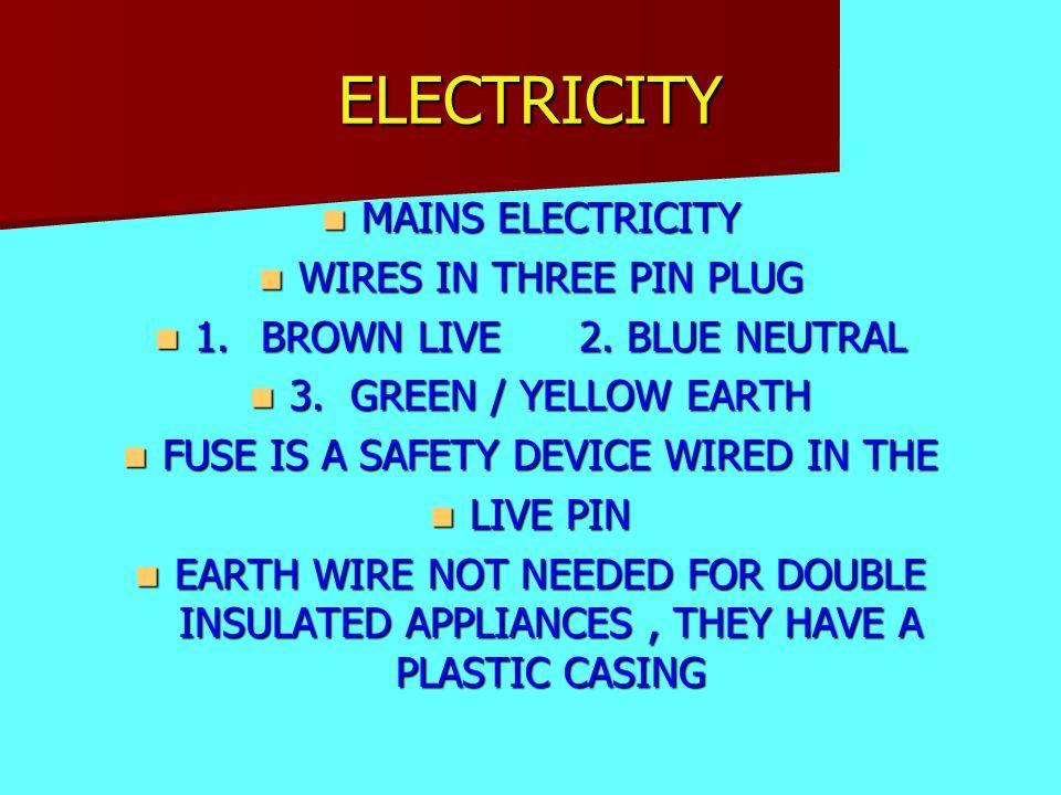 ELECTRICITY MAINS ELECTRICITY MAINS ELECTRICITY WIRES IN THREE PIN PLUG WIRES IN THREE PIN PLUG 1.BROWN LIVE2. BLUE NEUTRAL 1.BROWN LIVE2. BLUE NEUTRA