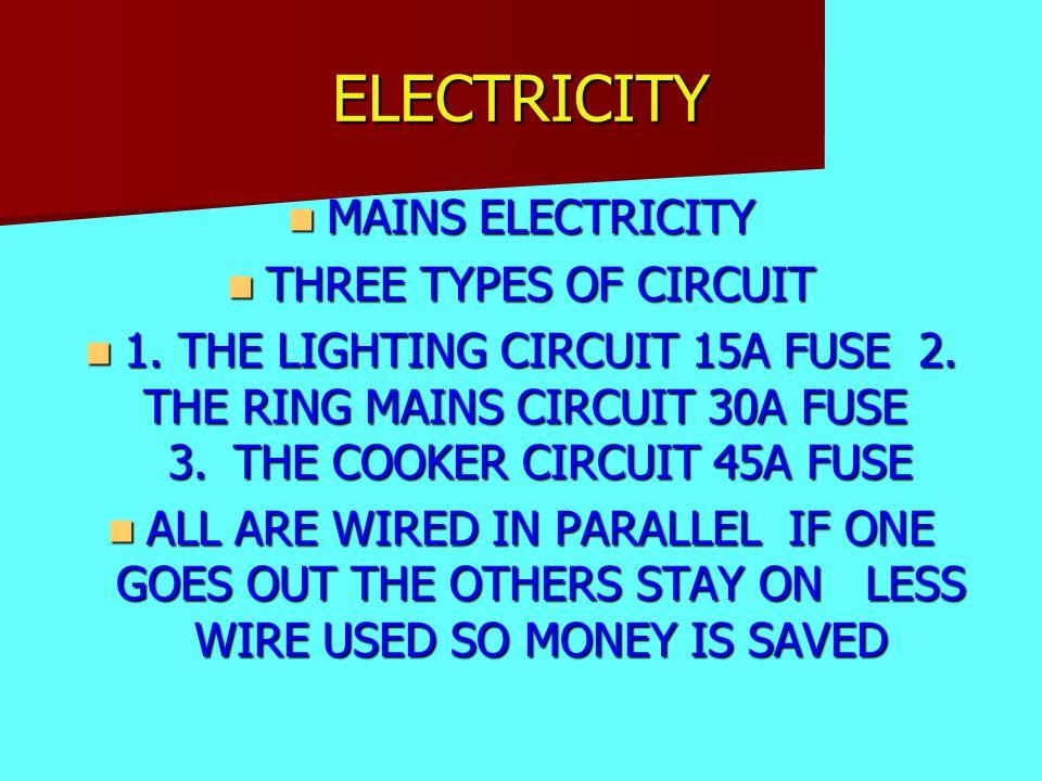 ELECTRICITY MAINS ELECTRICITY MAINS ELECTRICITY THREE TYPES OF CIRCUIT THREE TYPES OF CIRCUIT 1.