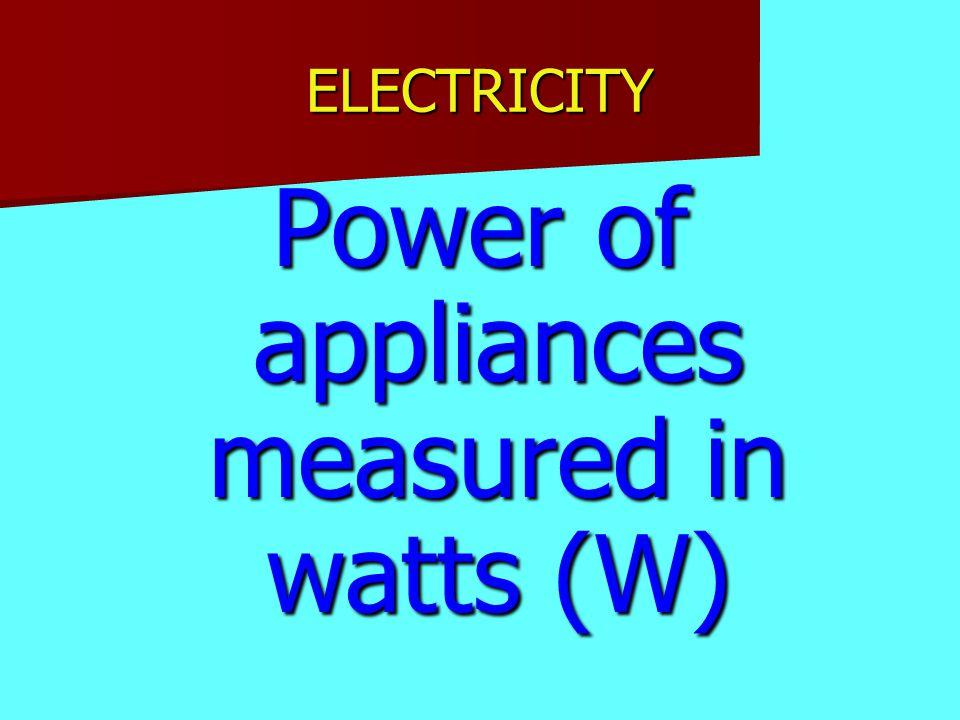 ELECTRICITY Power of appliances measured in watts (W)