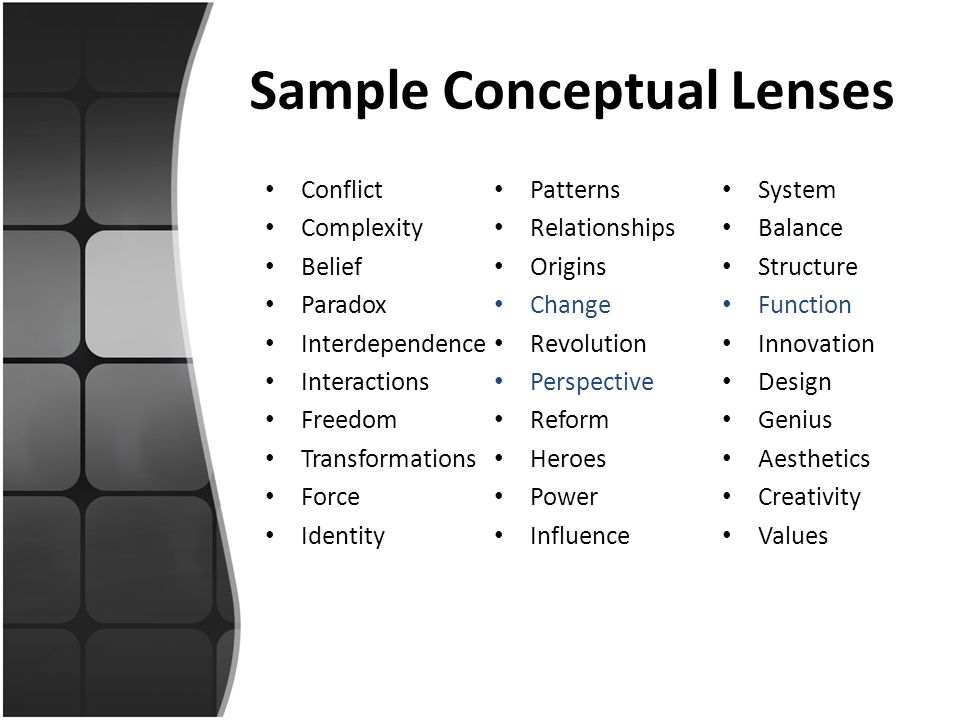 Sample Conceptual Lenses Conflict Complexity Belief Paradox Interdependence Interactions Freedom Transformations Force Identity Patterns Relationships