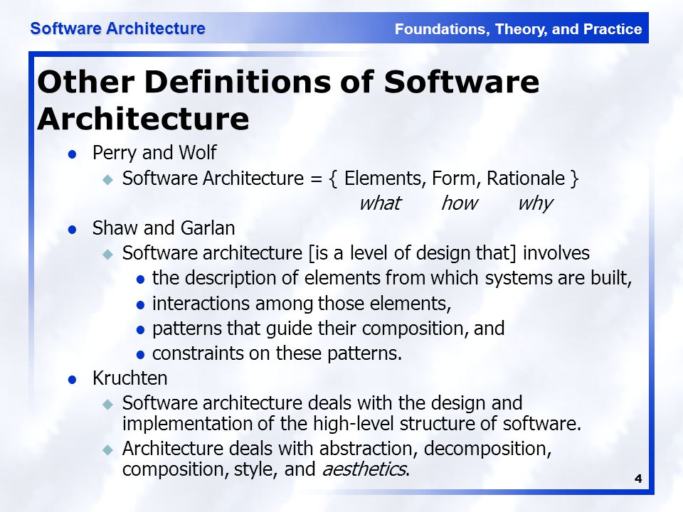 Foundations, Theory, and Practice Software Architecture 25 Three-Tiered Pattern Front Tier u Contains the user interface functionality to access the system's services Middle Tier u Contains the application's major functionality Back Tier u Contains the application's data access and storage functionality Software Architecture: Foundations, Theory, and Practice; Richard N.