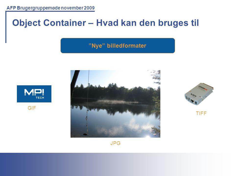 Printing Solutions For the IBM Environment AFP Brugergruppemøde november 2009 Object Container – Hvad kan den bruges til Nye billedformater TIFF GIF JPG
