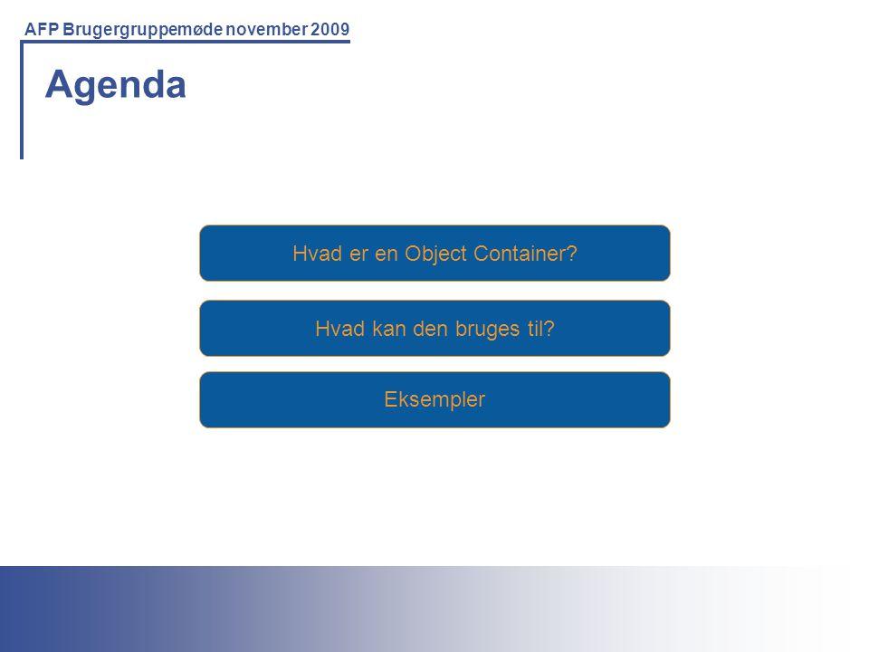 Printing Solutions For the IBM Environment AFP Brugergruppemøde november 2009 Hvad er en Object Container.