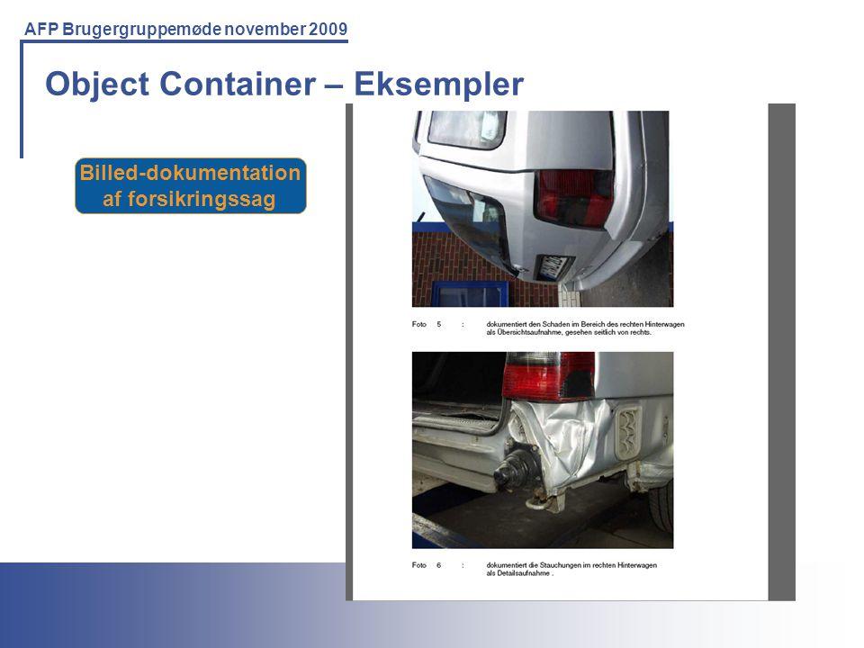 Printing Solutions For the IBM Environment AFP Brugergruppemøde november 2009 Object Container – Eksempler Billed-dokumentation af forsikringssag