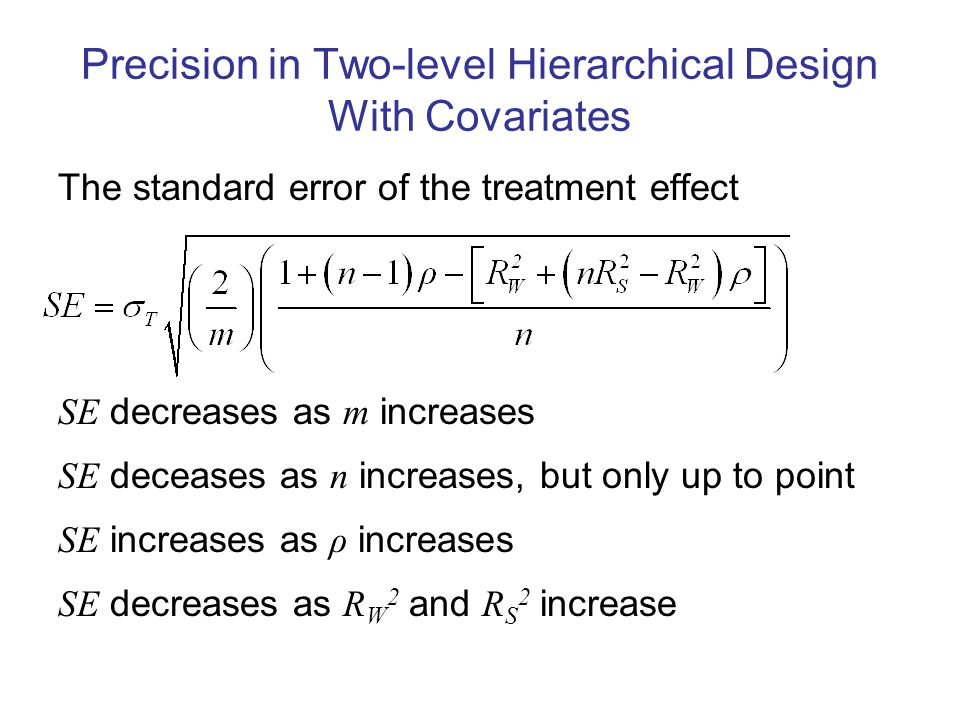 Precision in Two-level Hierarchical Design With Covariates The standard error of the treatment effect SE decreases as m increases SE deceases as n increases, but only up to point SE increases as ρ increases SE decreases as R W 2 and R S 2 increase