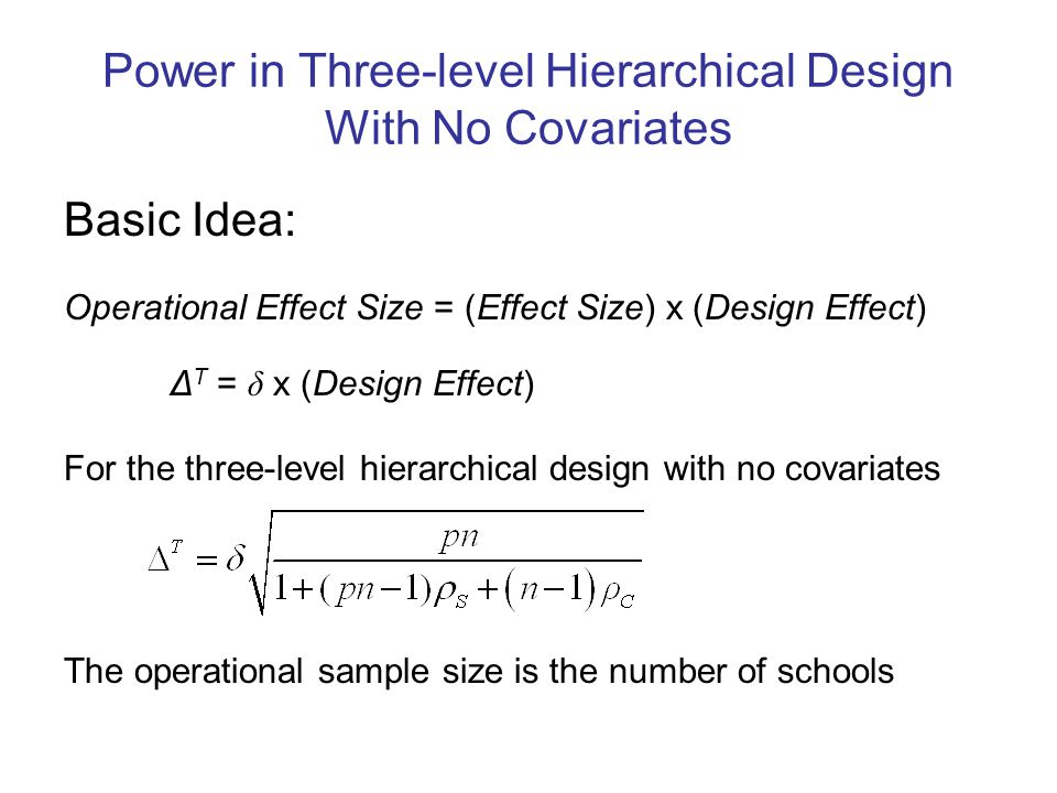 Power in Three-level Hierarchical Design With No Covariates Basic Idea: Operational Effect Size = (Effect Size) x (Design Effect) Δ T = δ x (Design Effect) For the three-level hierarchical design with no covariates The operational sample size is the number of schools