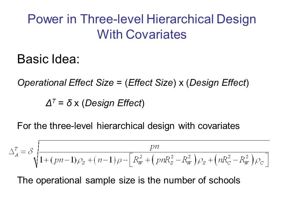 Power in Three-level Hierarchical Design With Covariates Basic Idea: Operational Effect Size = (Effect Size) x (Design Effect) Δ T = δ x (Design Effect) For the three-level hierarchical design with covariates The operational sample size is the number of schools