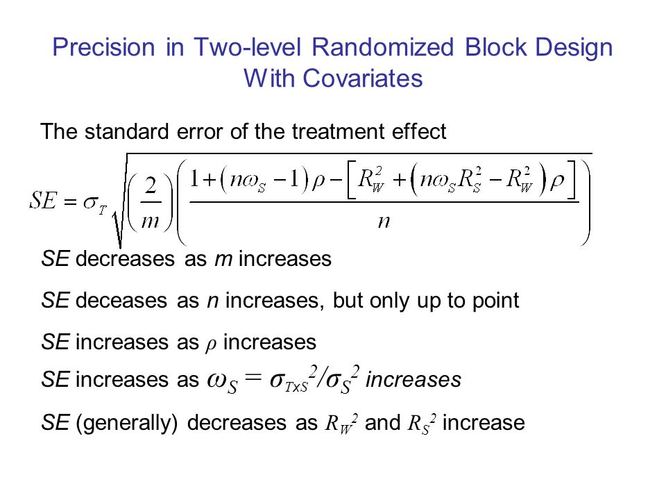 Precision in Two-level Randomized Block Design With Covariates The standard error of the treatment effect SE decreases as m increases SE deceases as n increases, but only up to point SE increases as ρ increases SE increases as ω S = σ T x S 2 /σ S 2 increases SE (generally) decreases as R W 2 and R S 2 increase