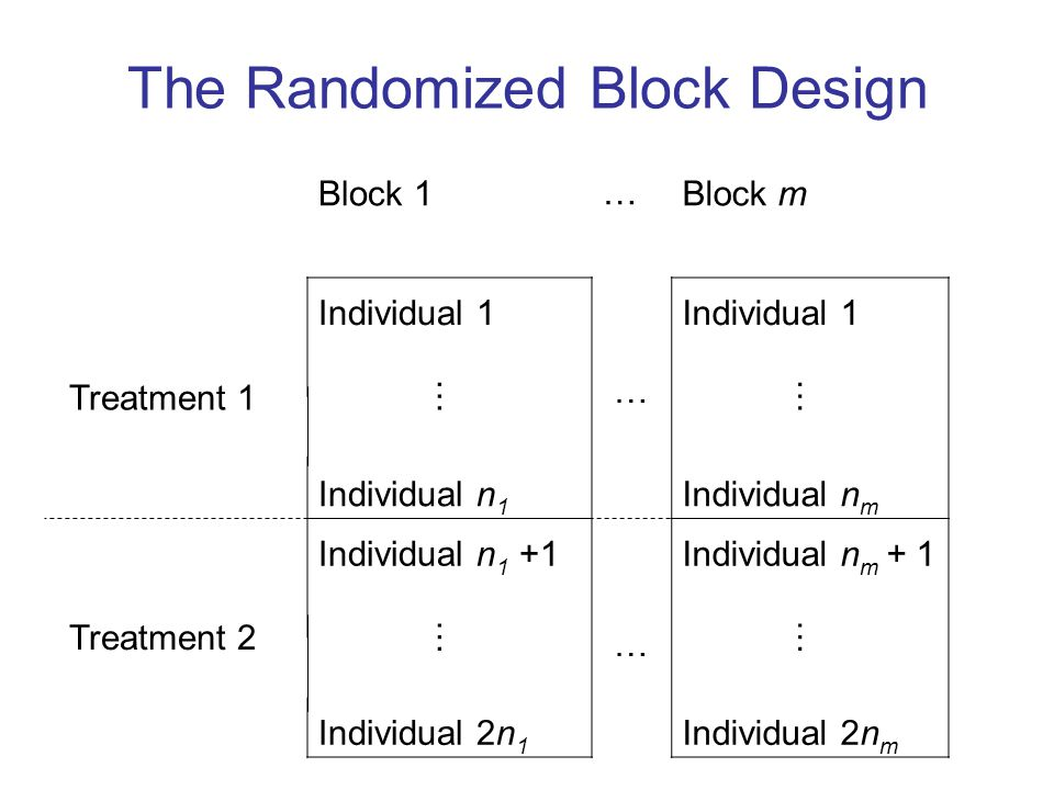 The Randomized Block Design Block 1…Block m Treatment 1 Individual 1 … …… … …… Individual n 1 Individual n m Treatment 2 Individual n 1 +1Individual n m + 1 …… Individual 2n 1 Individual 2n m