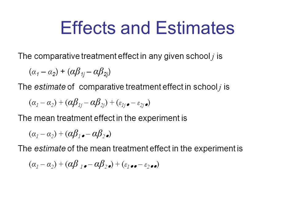 Effects and Estimates The comparative treatment effect in any given school j is ( α 1 – α 2 ) + ( αβ 1j – αβ 2j ) The estimate of comparative treatment effect in school j is (α 1 – α 2 ) + ( αβ 1j – αβ 2j ) + ( ε 1j ● – ε 2j ● ) The mean treatment effect in the experiment is (α 1 – α 2 ) + ( αβ 1 ● – αβ 2 ● ) The estimate of the mean treatment effect in the experiment is (α 1 – α 2 ) + ( αβ 1 ● – αβ 2 ● ) + ( ε 1 ●● – ε 2 ●● )