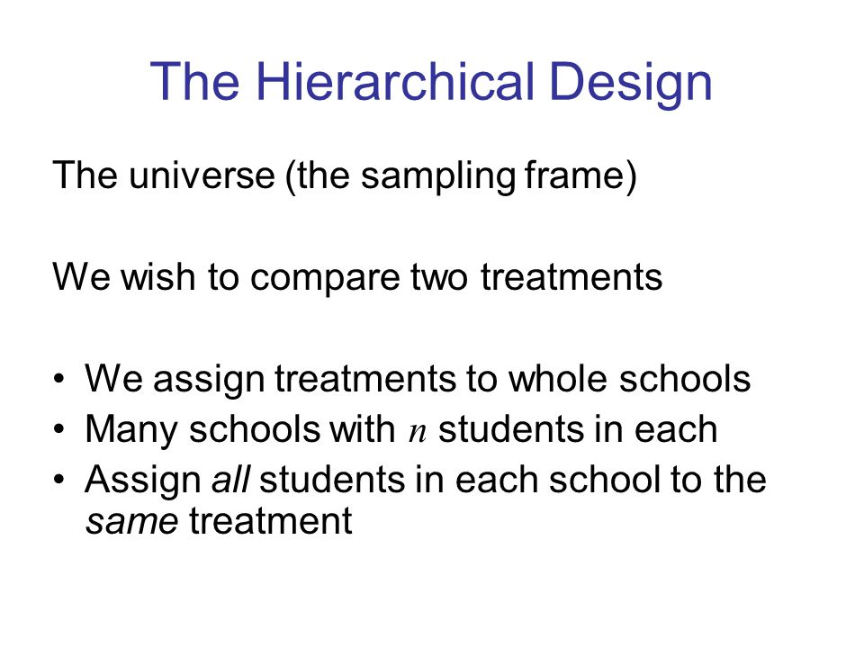 The Hierarchical Design The universe (the sampling frame) We wish to compare two treatments We assign treatments to whole schools Many schools with n students in each Assign all students in each school to the same treatment