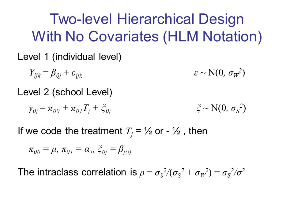 Two-level Hierarchical Design With No Covariates (HLM Notation) Level 1 (individual level) Y ijk = β 0j + ε ijk ε ~ N(0, σ W 2 ) Level 2 (school Level) γ 0j = π 00 + π 01 T j + ξ 0j ξ ~ N(0, σ S 2 ) If we code the treatment T j = ½ or - ½, then π 00 = μ, π 01 = α 1, ξ 0j = β j(i) The intraclass correlation is ρ = σ S 2 /(σ S 2 + σ W 2 ) = σ S 2 /σ 2