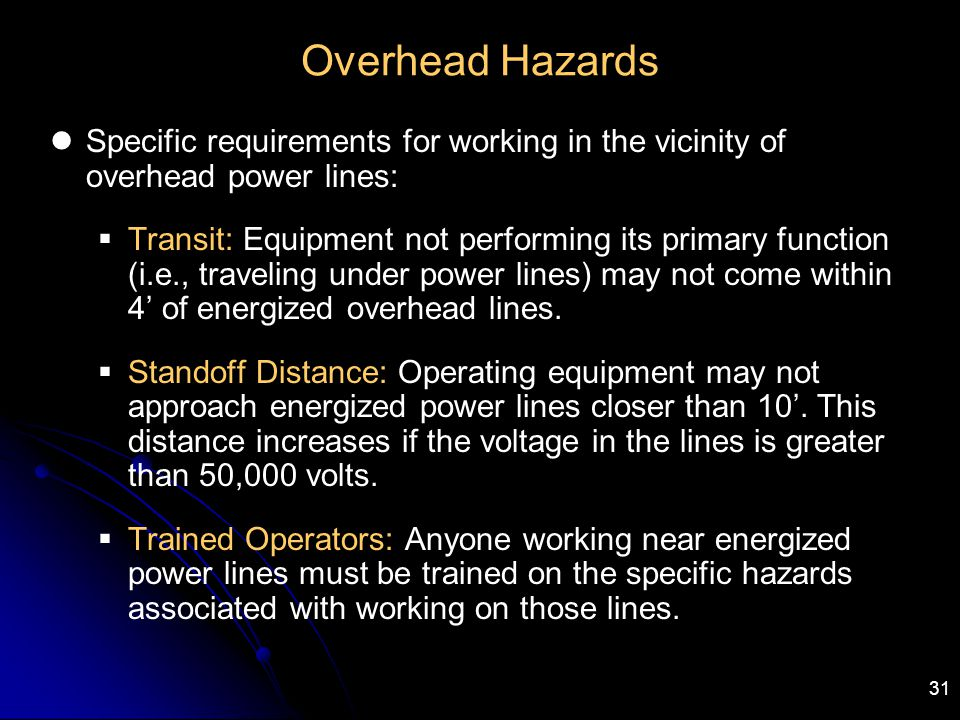 31 Overhead Hazards Specific requirements for working in the vicinity of overhead power lines:  Transit: Equipment not performing its primary functio
