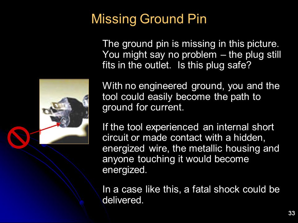33 Missing Ground Pin The ground pin is missing in this picture. You might say no problem – the plug still fits in the outlet. Is this plug safe? With