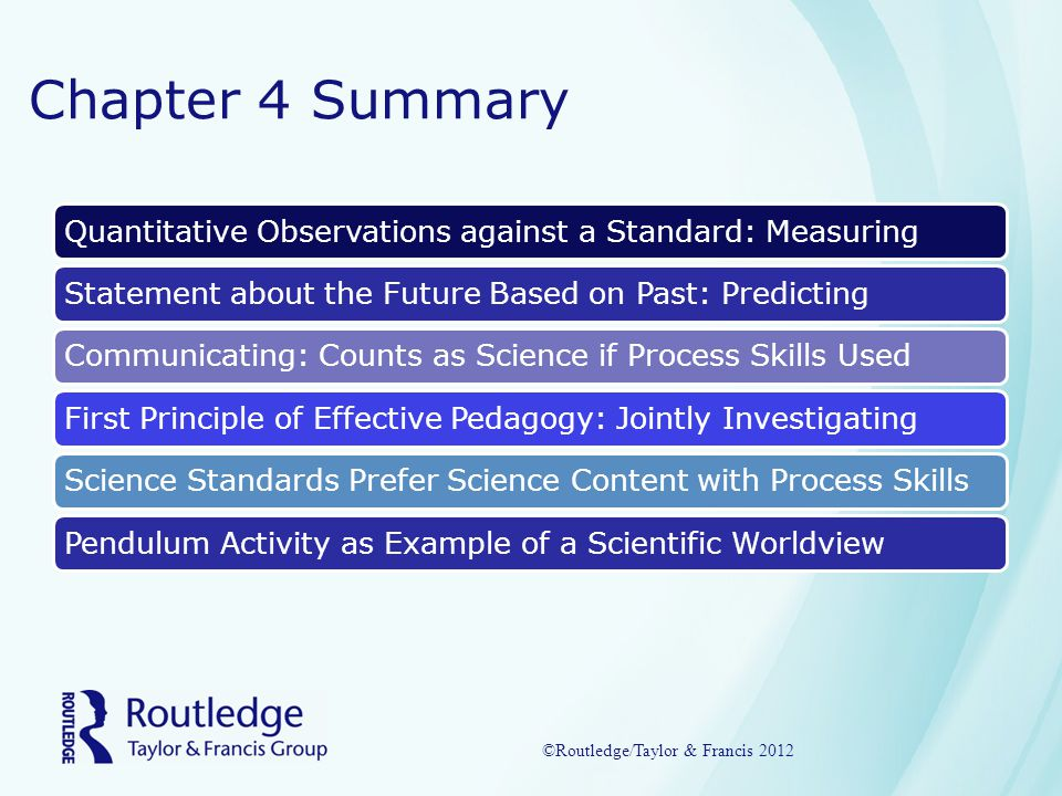 Chapter 4 Summary Quantitative Observations against a Standard: MeasuringStatement about the Future Based on Past: PredictingCommunicating: Counts as Science if Process Skills UsedFirst Principle of Effective Pedagogy: Jointly InvestigatingScience Standards Prefer Science Content with Process SkillsPendulum Activity as Example of a Scientific Worldview ©Routledge/Taylor & Francis 2012